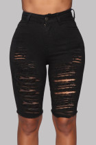 Black Fashion Casual Solid Ripped High Waist Regular Jeans
