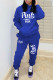 Blue Casual Letter Print Hooded Collar Long Sleeve Two Pieces