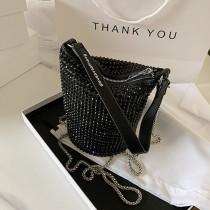 Black Fashion Casual Rhinestone Chain Bucket Bag