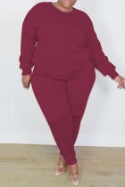 Wine Red Fashion Casual Solid Basic O Neck Long Sleeve Two Pieces