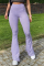 Purple Casual Solid Split Joint Boot Cut High Waist Speaker Solid Color Bottoms