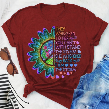 Wine Red Fashion Casual Print Basic O Neck Tops