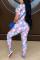 Blue Sexy Print Without Belt O Neck Regular Jumpsuits