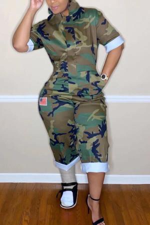 Camouflage Elegant Print Camouflage Print O Neck Loose Jumpsuits