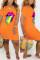 Orange Fashion Printing Short Sleeve Dress