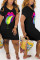 Black Fashion Printing Short Sleeve Dress