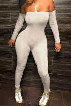Grey Sexy Print Strapless Regular Jumpsuits