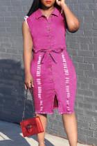 Rose Red Fashion Casual Solid Basic Turndown Collar Denim Dress