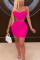 rose red Polyester Sexy Europe and America Spaghetti Strap Sleeveless V Neck Pencil Dress skirt Solid backless hollow out chain Dresses
