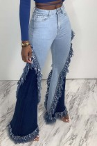 Light Blue Fashion Casual Patchwork Basic Mid Waist Jeans