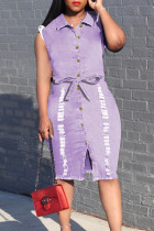 Purple Fashion Casual Solid Basic Turndown Collar Denim Dress