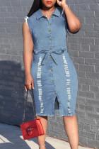 Light Blue Fashion Casual Solid Basic Turndown Collar Denim Dress