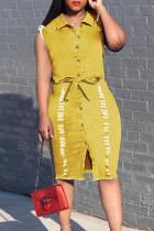 Yellow Fashion Casual Solid Basic Turndown Collar Denim Dress
