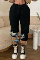 Black Fashion Casual Regular Mid Waist Print Trousers