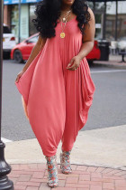 Watermelon Red Sexy Solid Without Belt Spaghetti Strap Regular Jumpsuits