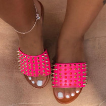 Pink Fashion Casual Rivets Slippers