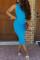 Light Blue Sexy Tank Sleeveless O neck Pencil Dress Ankle-Length Solid Dresses