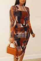 Coffee Casual Solid Split Joint O Neck Pencil Skirt Plus Size Dresses