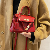 Red Fashion Casual Solid Messenger Bag