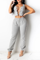 Grey Casual Solid Frenulum O Neck Sleeveless Two Pieces