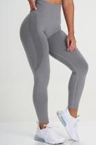 Grey Casual Sportswear Solid Basic Skinny High Waist Trousers
