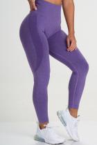 Purple Casual Sportswear Solid Basic Skinny High Waist Trousers