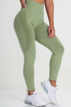 Grass Green Casual Sportswear Solid Basic Skinny High Waist Trousers
