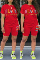 Red Fashion Casual Letter Print Basic O Neck Short Sleeve Two Pieces