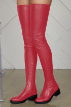 Red Fashion Solid Color Keep Warm High Boots