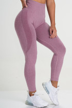 Rose Red Casual Sportswear Solid Basic Skinny High Waist Trousers