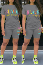 Grey Fashion Casual Letter Print Basic O Neck Short Sleeve Two Pieces