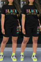 Black Fashion Casual Letter Print Basic O Neck Short Sleeve Two Pieces