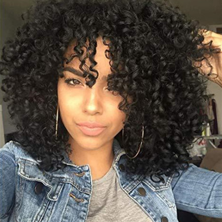 Black Fashion Casual Solid Long Curly Hair Wigs