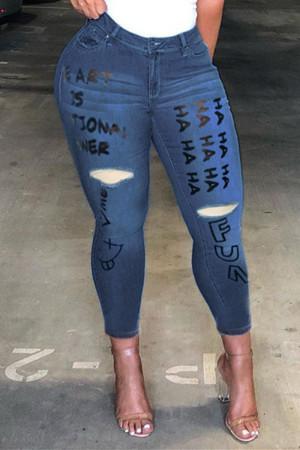 Dark Blue Fashion Casual Letter Print Ripped High Waist Regular Jeans