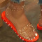 Orange Casual Rivets Round Out Door Shoes