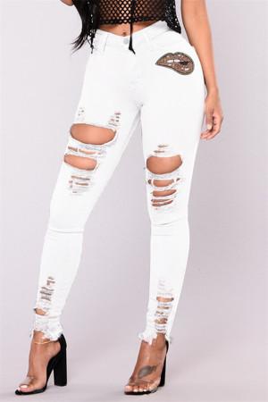 White Fashion Casual Ripped High Waist Regular Jeans