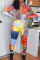 Multicolor Casual Print Split Joint Turndown Collar Skinny Jumpsuits