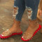 Red Casual Rivets Round Out Door Shoes