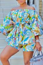 Multicolor Fashion Casual Floral Print Shorts Set