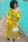 Yellow Long Sleeve Mid ruffle Patchwork pencil Pants