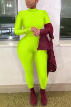 Fluorescent green Trendy V Neck Zipper Design Polyester One-piece Jumpsuits