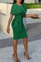 Green Trendy Lace-up Knee Length Dress