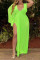 Fluorescent Green Sexy Solid V Neck Plus Size