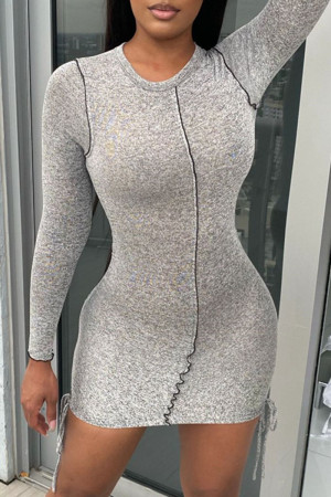 Grey Sexy Casual Solid Split Joint O Neck Long Sleeve Dresses