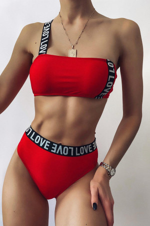 Red Fashion Sexy Solid Split Joint Swimwears