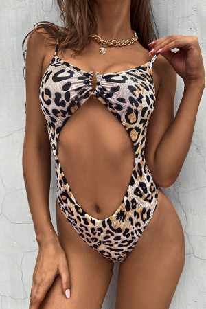 Leopard Print Fashion Sexy Leopard Print Hollowed Out Backless Swimwears