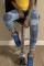BlueStitching Fashion Casual Stitching Ripped Jeans