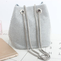 Silver Fashion Casual Rhinestone Bucket Bags