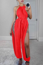 Red Sexy Solid With Belt Halter Loose Jumpsuits