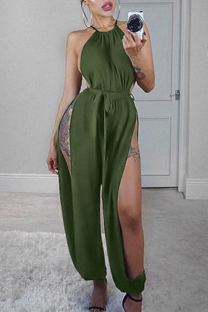 Army Green Sexy Solid With Belt Halter Loose Jumpsuits